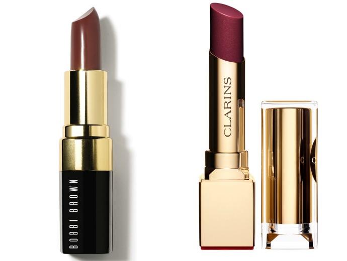 Bobby Brown Lip Color, оттенок Chocolate; Clarins Rouge Eclat Lipstick, оттенок True Aubergine
