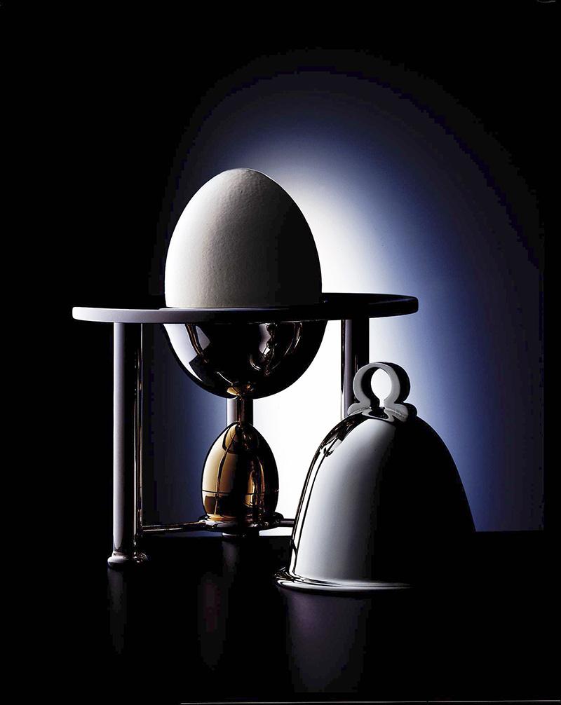 Подставка для яйца и солонка, серебро, позолота.