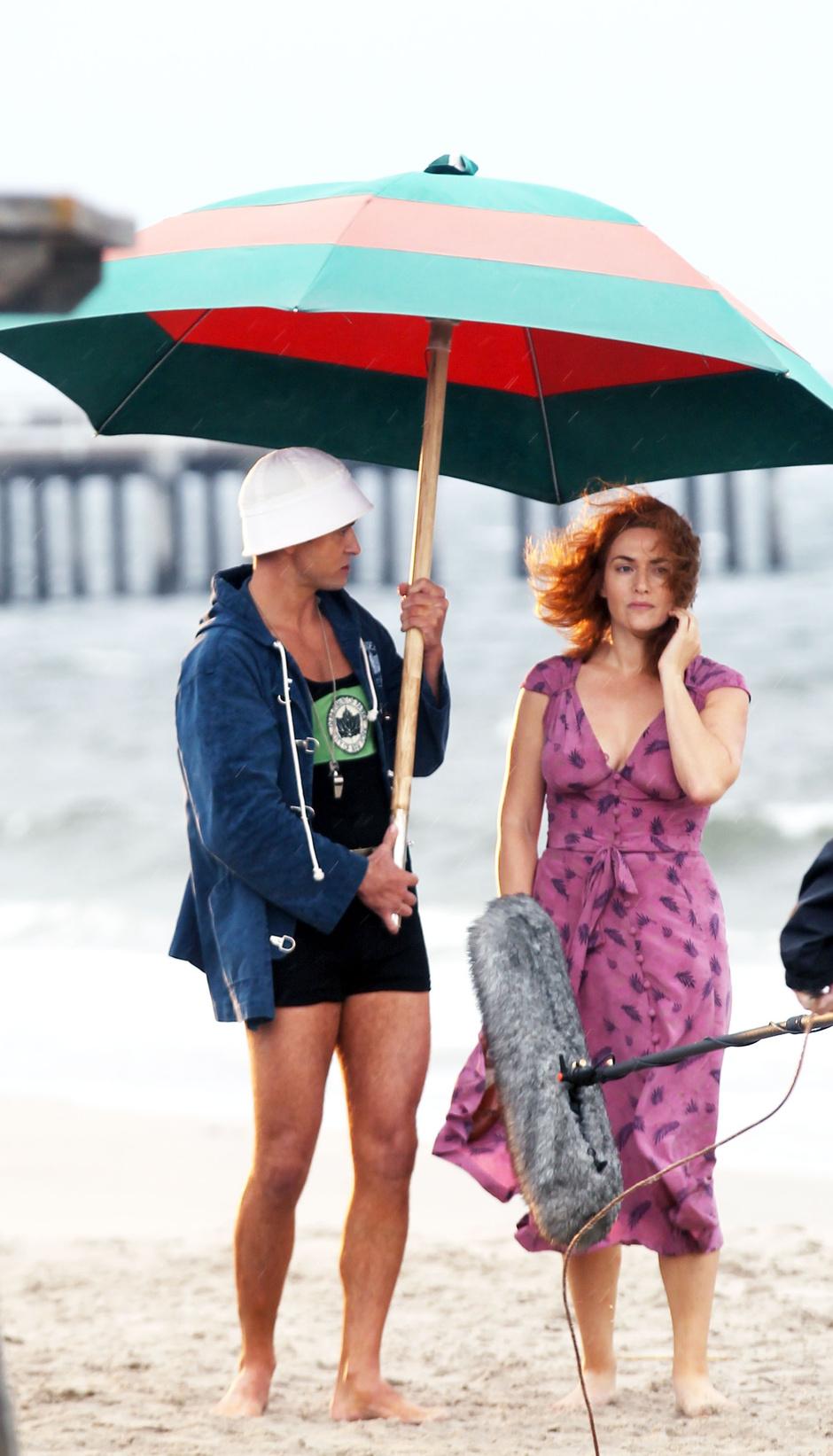 Джастин Тимберлейк и Кейт Уинслет на съемках фильма Вуди Аллена