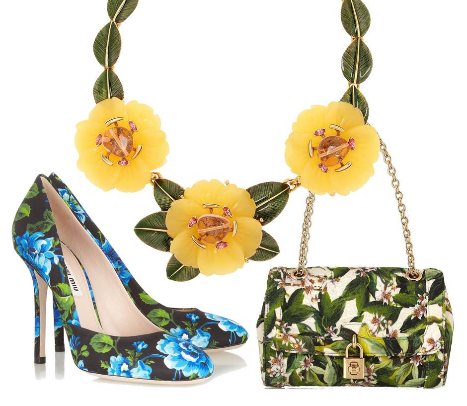 Сумка Dolce&Gabbana, туфли Miu Miu, ожерелье Oscar de la Renta