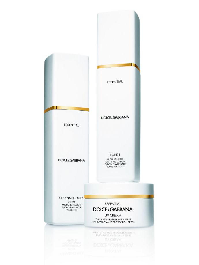 Очищающее молочко, тоник и защитный крем Essential от Dolce&Gabbana Skincare