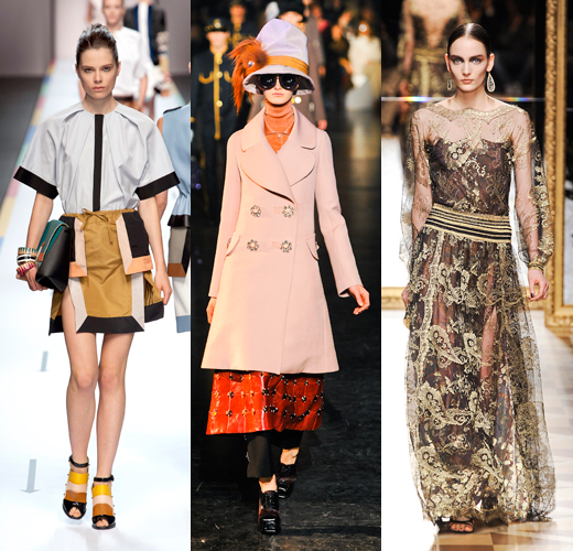 Fendi весна — лето 2013; Louis Vuitton осень — зима 2012/13; Salvatore Ferragamo осень — зима 2012/13