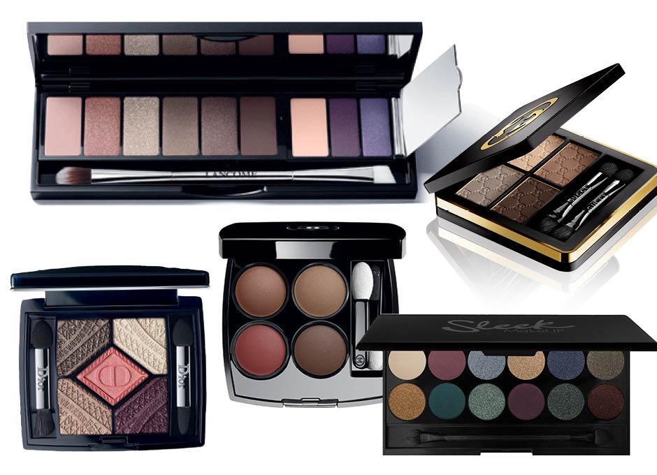 1. Sonia Rykiel x Lancôme Maxi Palette Saint-Germain; 2. Gucci Eye Magnetic Color Shadow Quad Tuscan Storm; 3. Sleek Make Up; 4. Chanel Les 4 Ombres Cardeur Et Experience; 5. Dior 5 Couleurs Capital of Light