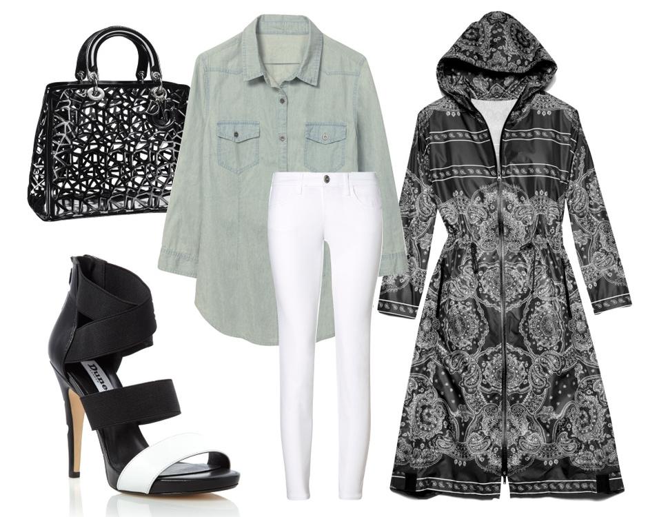 Сумка Dior, рубашка Tezenis, плащ DKNY, босоножки Dune, брюки United Colors of Benetton