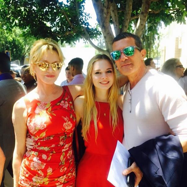 Мелани Гриффит и Антонио Бандерас с дочерью Стеллой