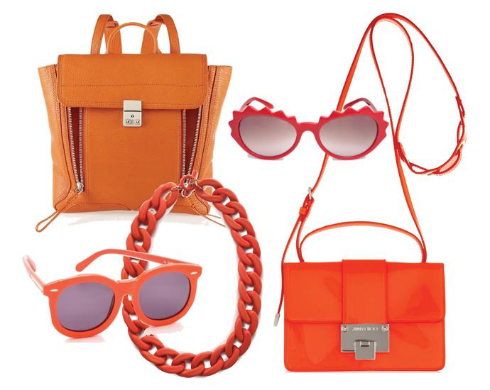 Солнцезащитные очки Sonia Rykiel и Karen Walker, шоппер Alexander McQueen, рюкзак 3.1 Philip Lim и сумка Jimmy Choo, колье Mango