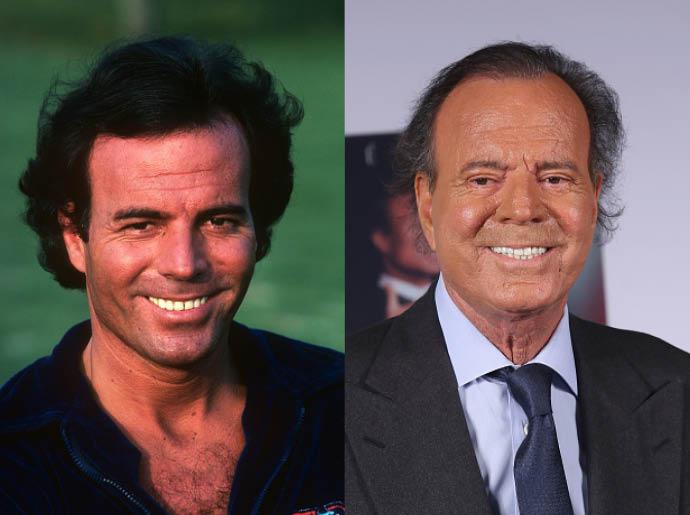 Хулио Иглесиас в 1980 и в 2015