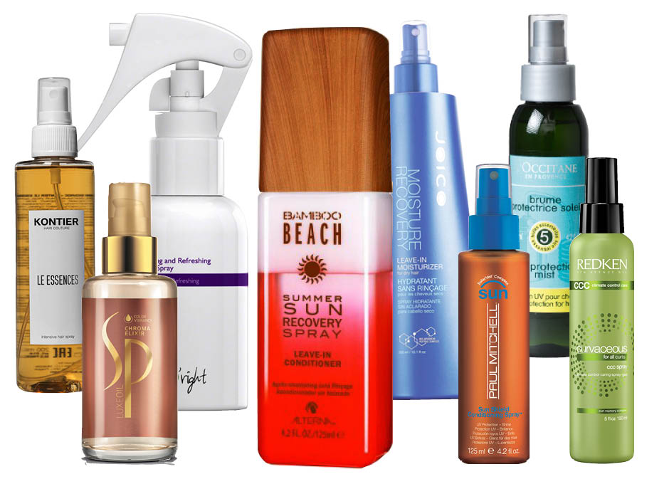 1. Kontier Le Essences; 2. SP LuxeOil Chroma Elixir; 3. Alterna Bamboo Beach Summer Sun Recovery Spray; 4. Joico Moisture Recovery Leave-In Moisturizer; 5. Paul Mitchell Sun Shield Conditioning Spray; 6. L'Occitane Summer Protection Sun Hair Mist; 7. Redken Curvaseous For All Curls