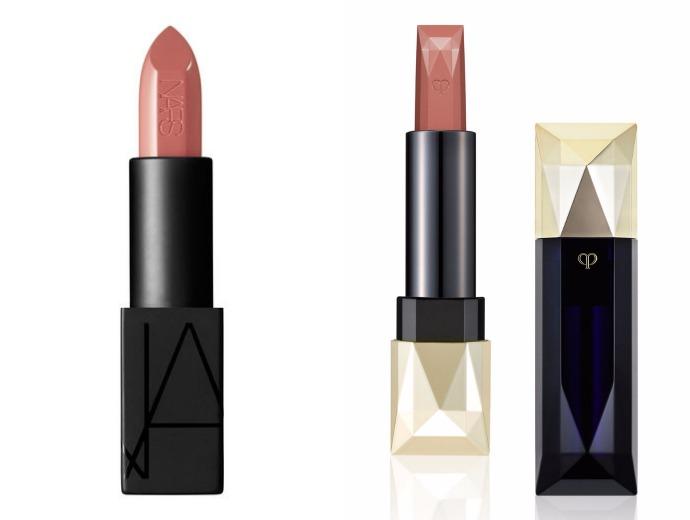 Nars Audacious Lipstick, оттенок Raquel; Clé de Peau Beautè, Extra Rich Lipstick, оттенок 101