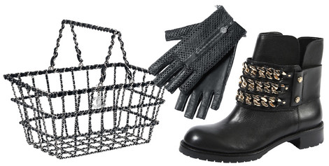 Cумка, Chanel, цена по запросу; перчатки, Chanel, цена по запросу; ботинки, DKNY, 12 500 руб.