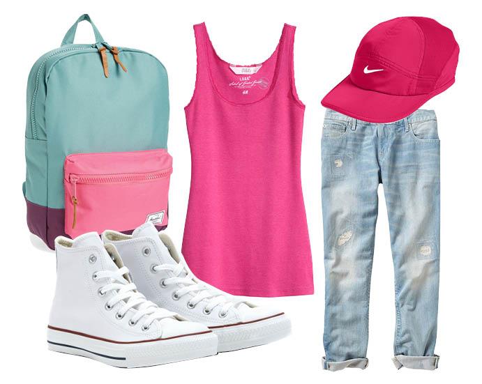 Выбор ELLE: джинсы Gap, топ H&M, рюкзак Herschel, бейсболка Nike