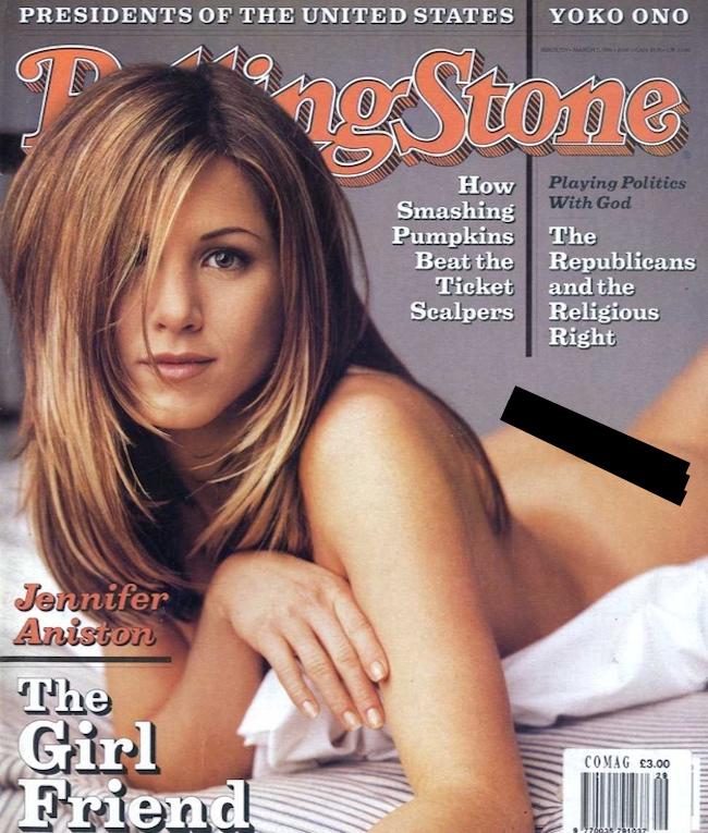 Дженнифер Энистон на обложке The Rolling Sones (1996)