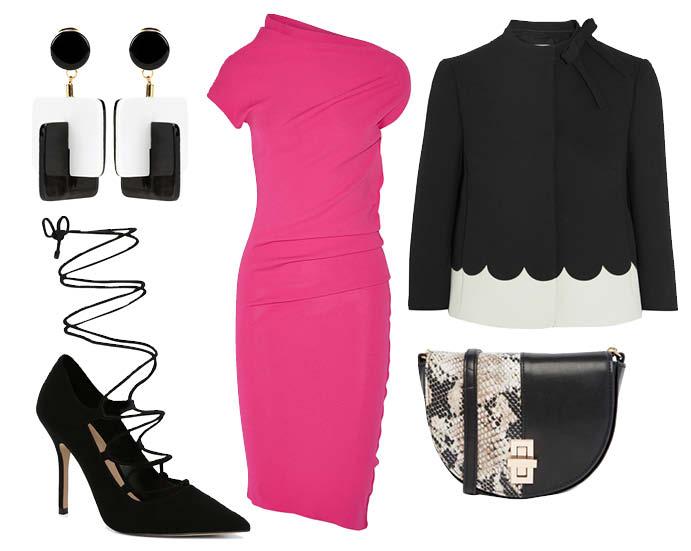 Выбор ELLE : платье Donna Karan, туфли Aldo, жакет Red Valentino, серьги Marni