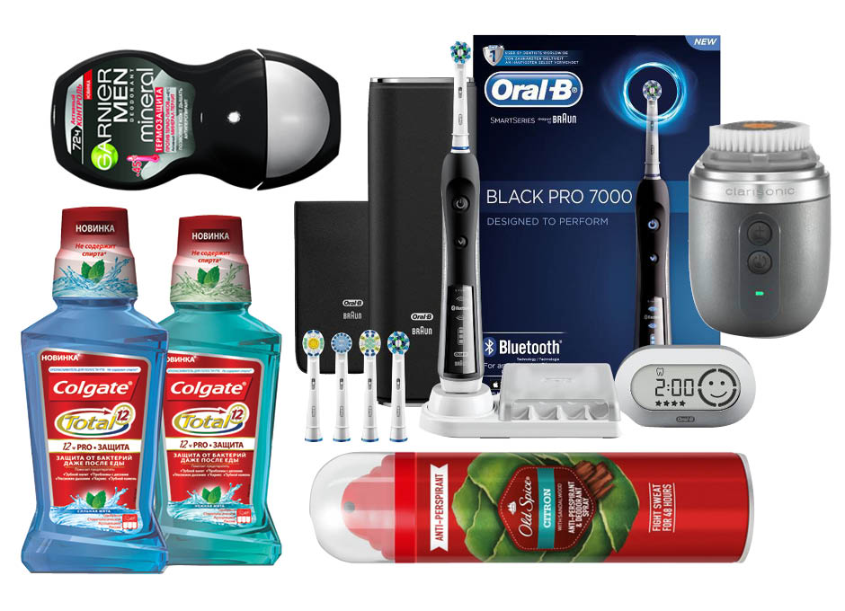 1. Garnier Men Mineral; 2. Oral-B Black Pro 7000; 3. Clarisonic Alpha Fit; 4. Old Spice Citron; 5. Colgate Total 12 Pro + Защита