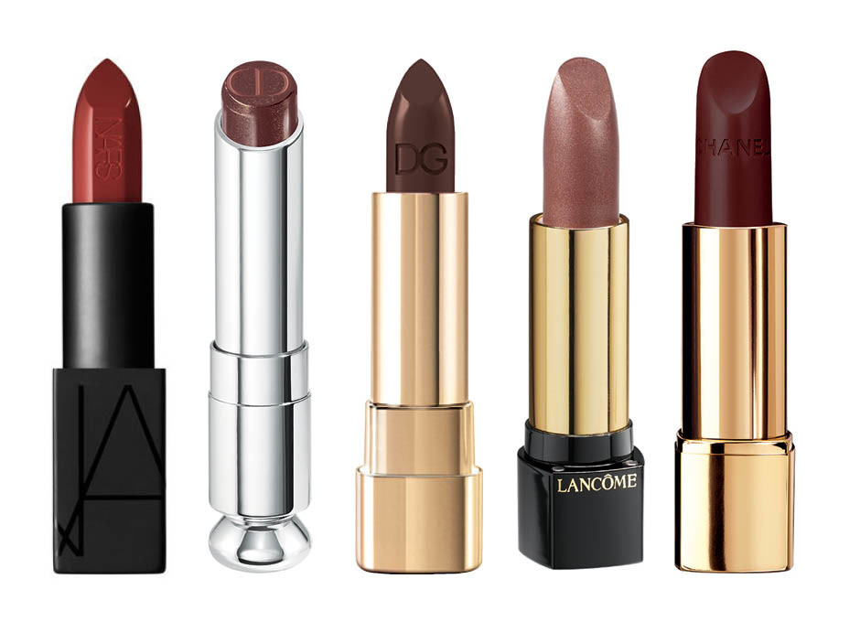1. NARS Audacious Lipstick Leslie; 2. Dior Addict Sophisticated; 3. Dolce&Gabbana Shine Lipstick Chocolate; 4. Lancome L'Absolu Rouge Lipstick Rendez-Vous; 5. Chanel Rouge Allure Velvet