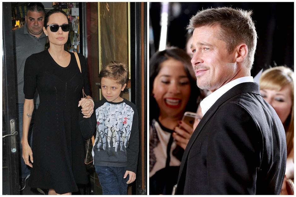 Анджелина Джоли с сыном Ноксом и Брэд Питт