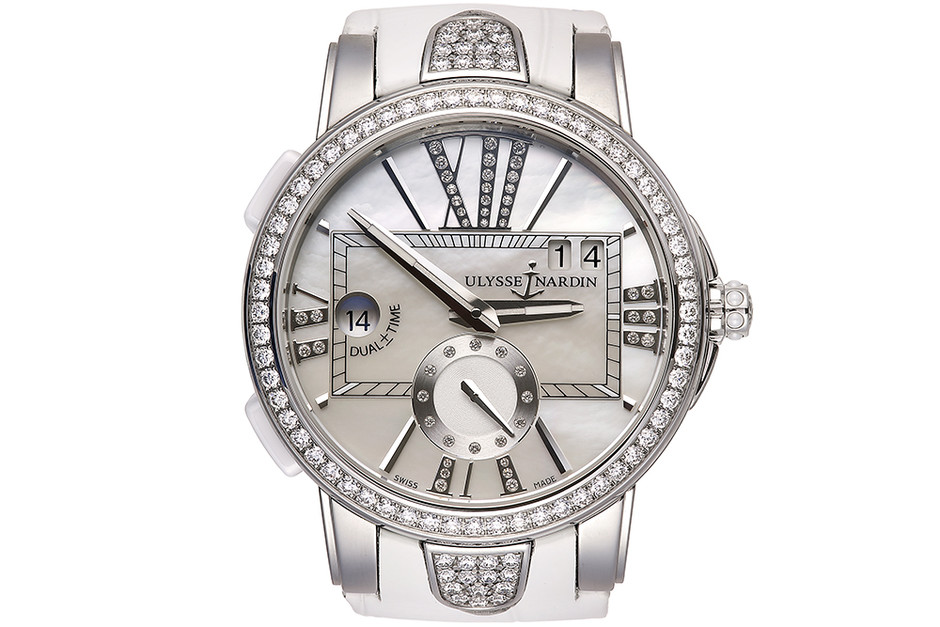 Часы Executive Dual Time Lady, сталь, керамика, ­бриллианты, Ulysse Nardin, 1 066 000 руб.
