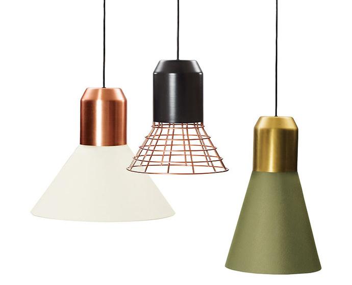 Светильники Bell-Light, ClassiCon. Абажуры выполнены из меди, латуни, крашеного алюминия или ткани