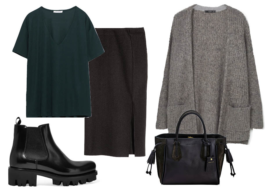 Выбор ELLE: юбка H&M, топ Zara, сумка Longchamp, ботинки Prada