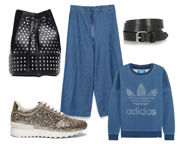 Выбор ELLE: кроссовки Casadei, свитшот Adidas Originals, ремень Isabel Marant, рюкзак Zara