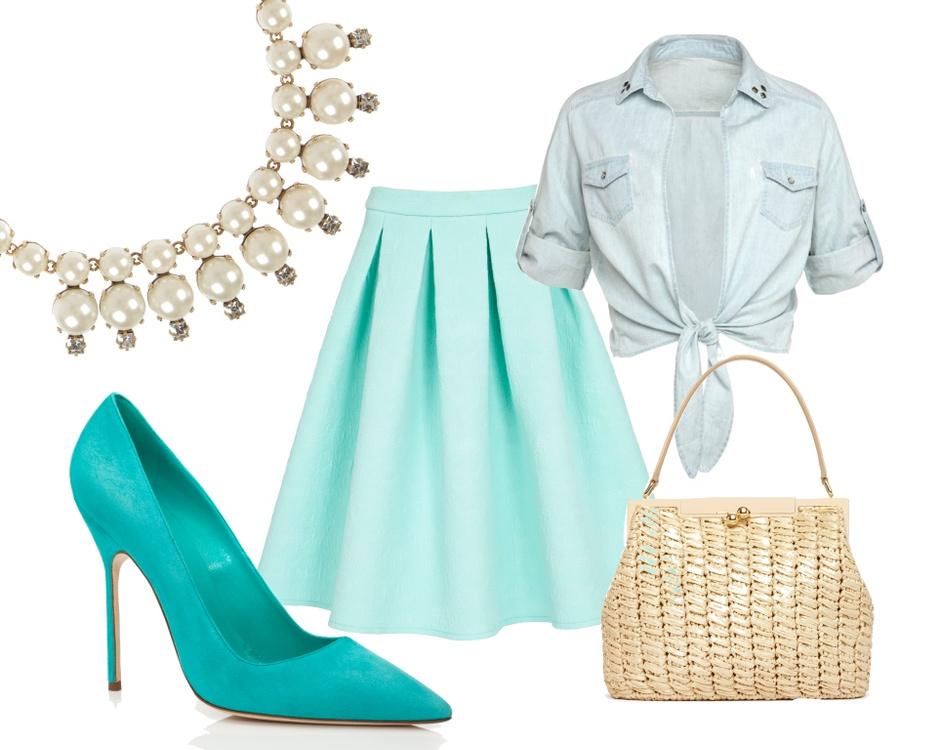 Колье J.CREW, туфли Manolo Blahnik, юбка Asos, рубашка OVS, сумка Dolce&Gabbana