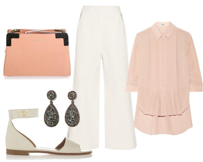 Выбор ELLE: блуза Kenzo, босоножки Givenchy, клатч Pinko, серьги Zara
