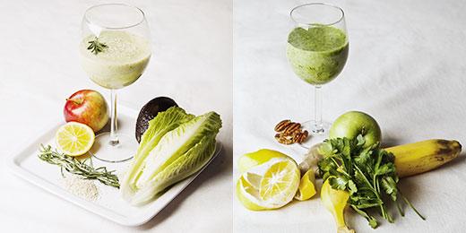 Слева: авокадо , листовой салат , лимон , розмарин , 2 ст. ложки кунжутных семечек; Справа: имбирь , петрушка , яблоко , лимон , банан , грецкие орехи , вода.