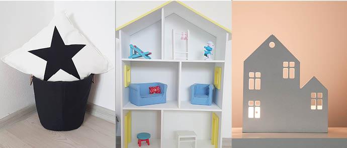 Тканевая корзина, кукольный дом и домик-светильник