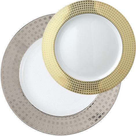 Сервировочная тарелка Athena Platinum и тарелка для хлеба и масла Athena Gold, Bernardaud, салоны Gallery Royal, 9220 и 2950 руб.