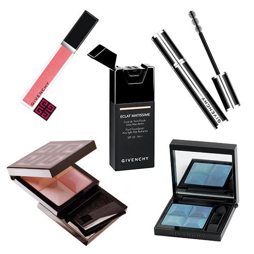 Givenchy: черная тушь для ресниц Noir Couture, тональное средство Eclat Matissime, блеск для губ Gloss Interdir, тени для глаз Le Prisme Yeux, румяна Le Prisme Blush