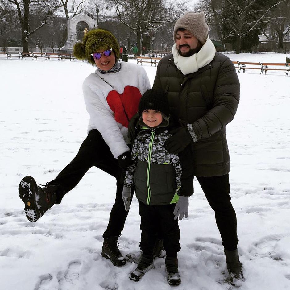 Анна Нетребко с сыном и Юсиф Эйвазов