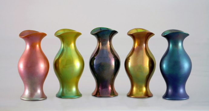 Eva Zeisel, Pink, Green, Purple, Gold, and Blue Vases, 2011.