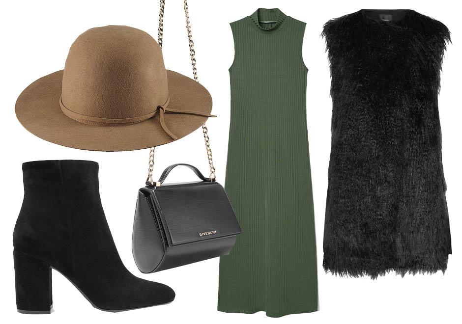 Выбор ELLE: платье Mango, ботильоны Gianvito Rossi, шляпа Uniqlo, сумка Givenchy