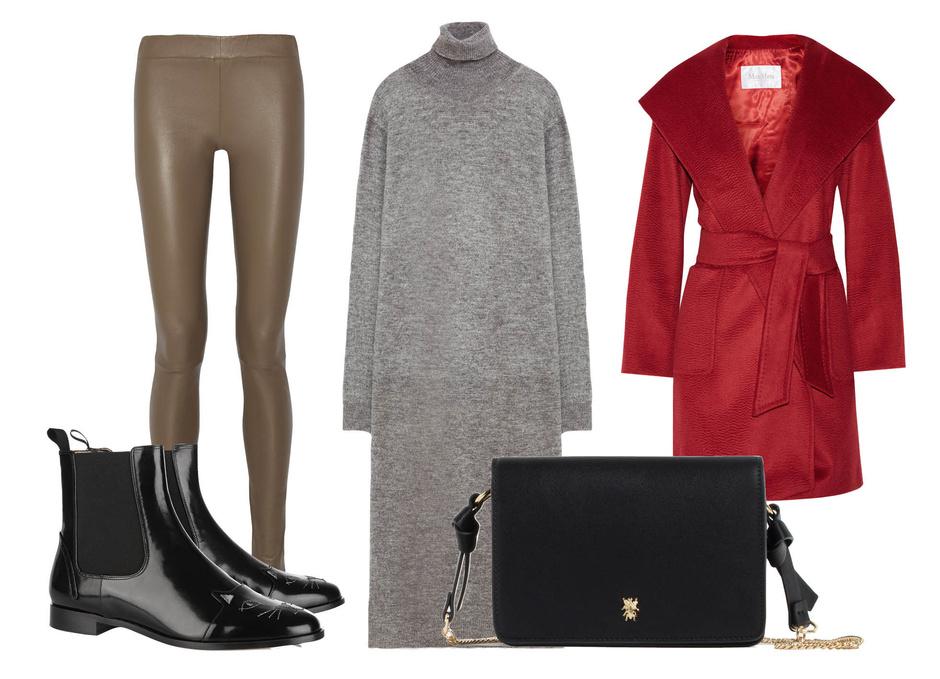 Выбор ELLE: леггинсы The Row, пальто Max Mara, сумка Zara, ботильоны Charlotte Olympia