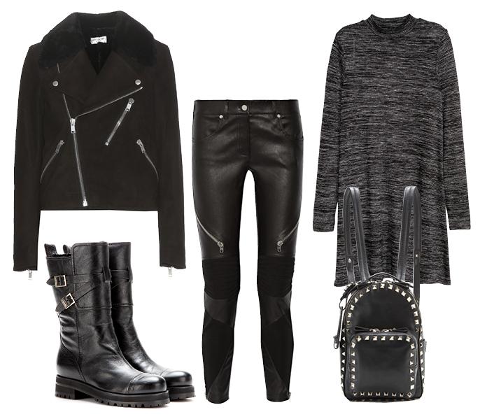 Выбор ELLE: жакет SaintLaurent, кожаные леггинсы Givenchy, сапоги Jimmy Choo, мини-рюкзак Valentino