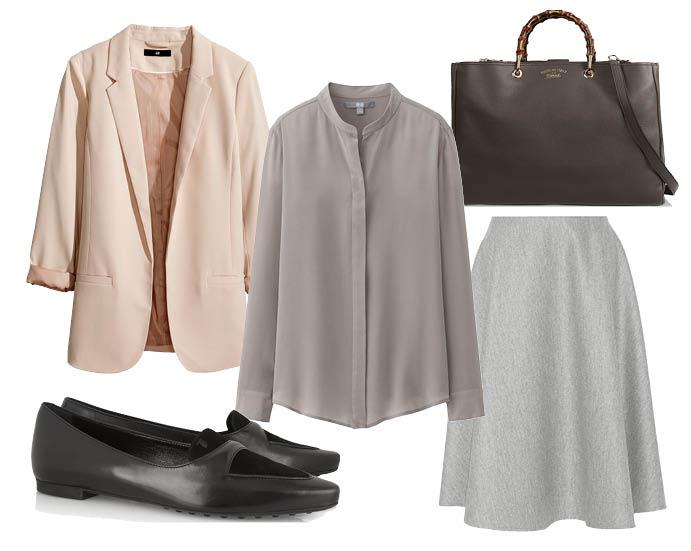 Выбор ELLE: блейзер H&M, юбка The Row, лодочки Tod's, сумка Gucci