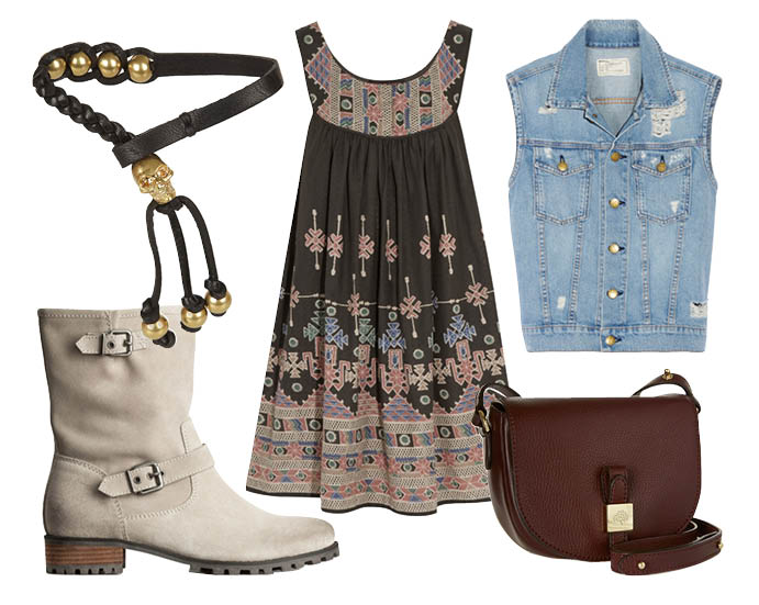 Выбор ELLE: сарафан Kate Moss for TopShop, джинсовый жилет Current/Elliott, браслет Alexander McQueen, сумка Mulberry