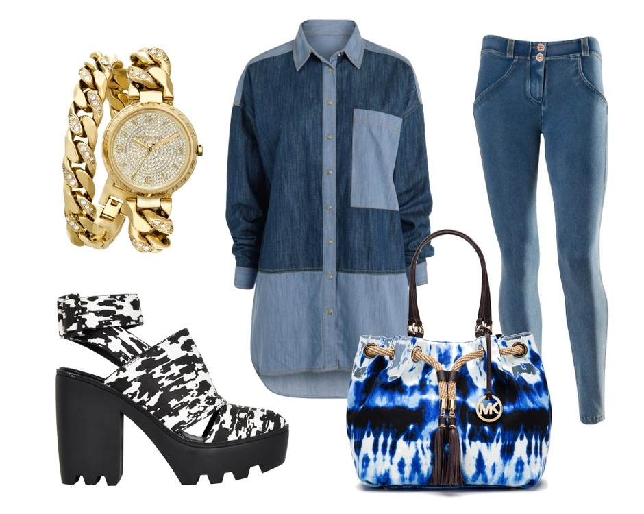 Часы MICHAEL Michael Kors, рубашка Next, джинсы Freddy, босоножки Asos, сумка MICHAEL Michael Kors