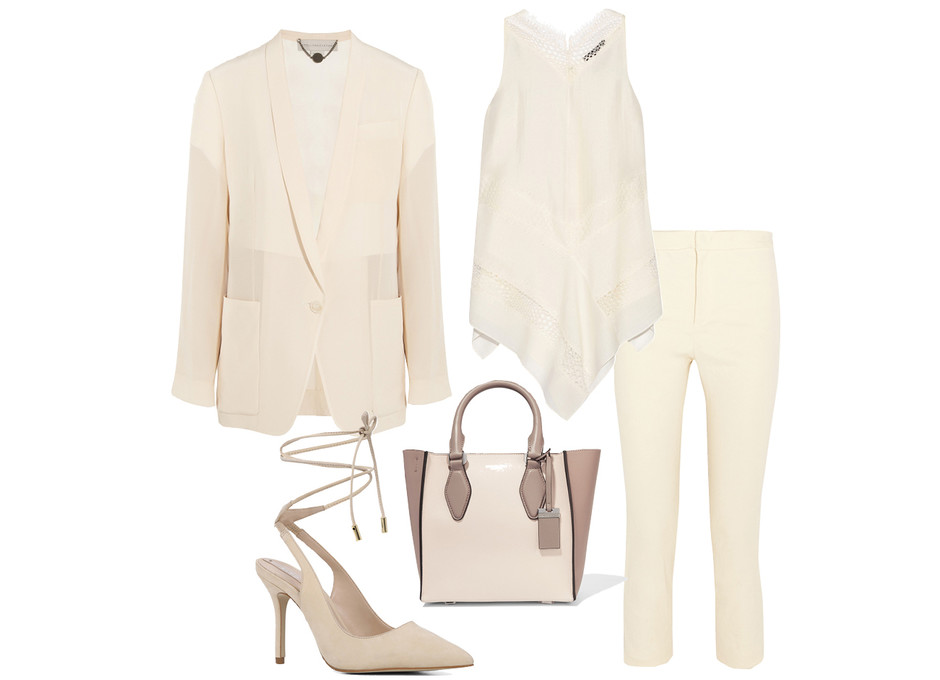 Выбор ELLE: брюки Isabel Marant, блейзер Stella McCartney, топ Wes Gordon, сумка Michael Kors