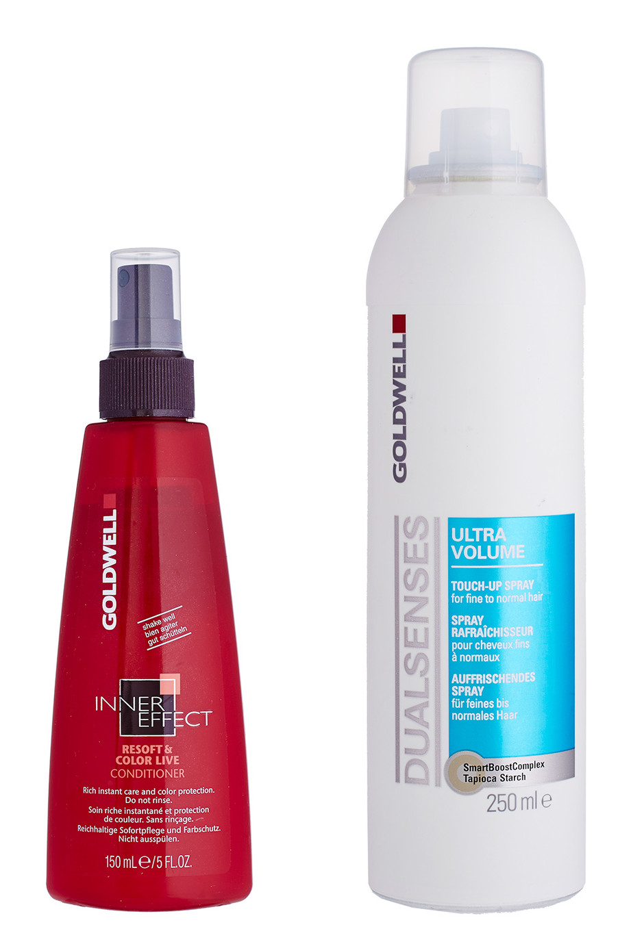 Кондиционер для окрашенных волос Inner Effect Resoft & Color Live Conditioner и спрей Ultra Volume Touch Up Spray, Goldwell
