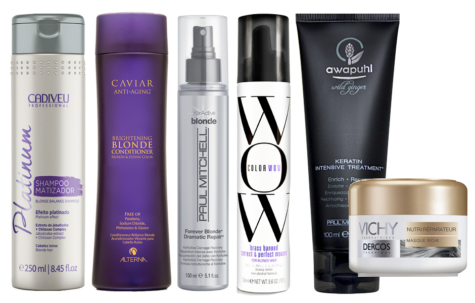1. Cadiveu Professional Platinum Shampoo Matizador; 2. Alterna Caviar Anti-Aging Brightening Blonde Conditionerж 3. Paul Mitchell Forever Blonde Dramatic Repair; 4. COLOR WOW Brass Banned Correct and Perfect Mousse; 5. Paul Mitchell Awapuhi Wild Ginger Keratin Intensive Treatment; 6. Vichy Dercos Masque Riche