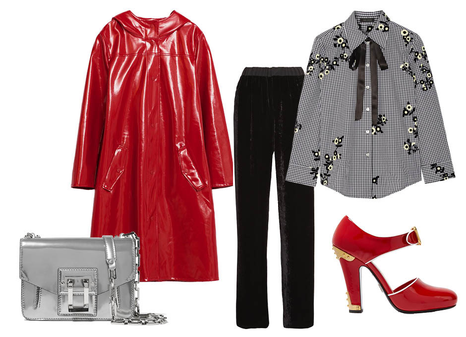 Выбор ELLE: брюки Fendi, блуза Marc Jacobs, сумка Proenza Schouler, туфли Prada
