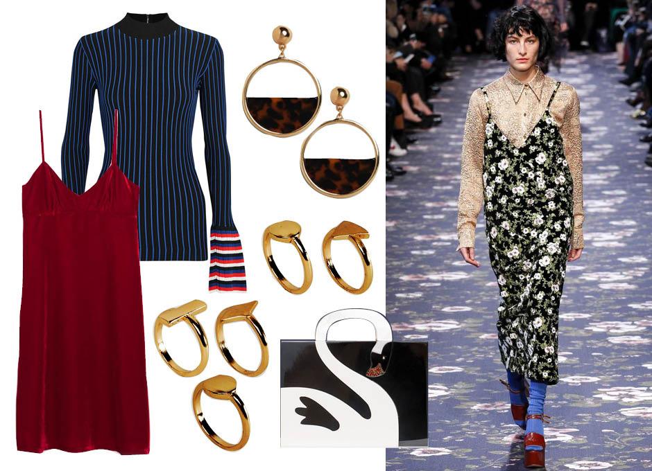 Водолазка Emilio Pucci, платье Zara, кольца ASOS, босоножки Gianvito Rossi, клатч Uterque, серьги New Look, показ Rochas F/W 16