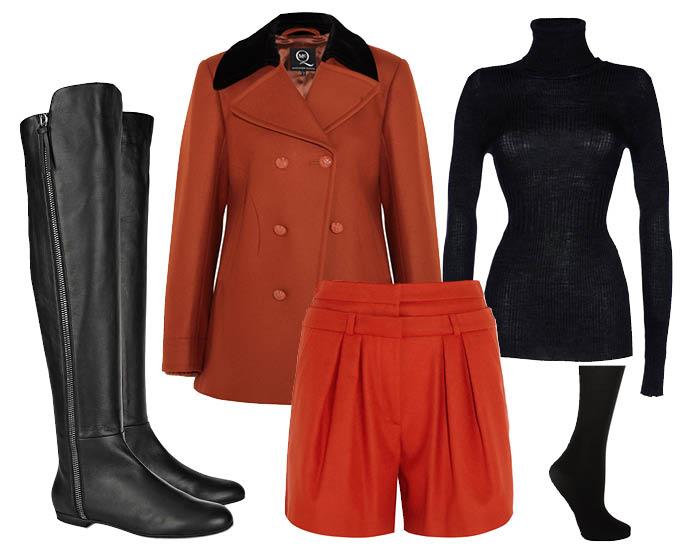 Выбор ELLE: шорты Paul & Joe, водолазка Pinko, пальто-бушлат Mcq by Alexander McQueen, колготки DIM