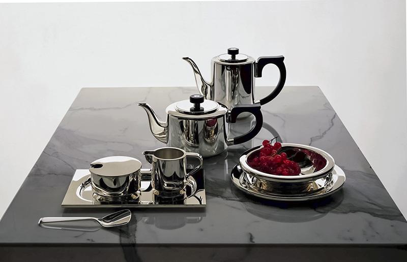 Чайно-кофейный сервиз Alta, серебро 925- й пробы, черный палисандр.