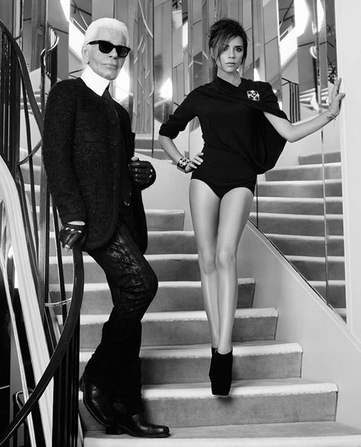 Карл Лагерфельд и Виктория Бекхэм для Elle France