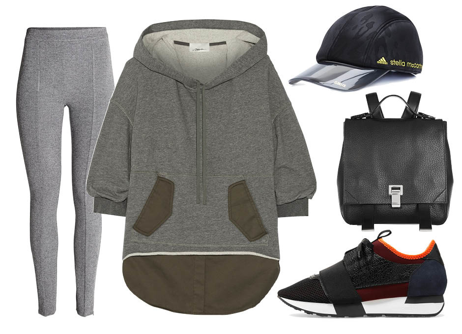 C чем носить худи? кроссовки Balenciaga, джеггинсы H&M, рюкзак Proenza Schouler, бейсболка Adidas by Stella McCartney