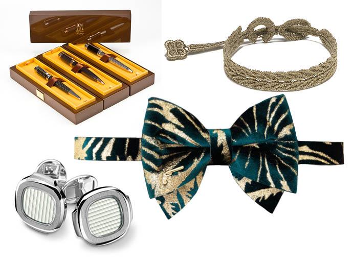Ручки Uomo Collezioni; браслет Cruciani; бабочка Jacky Black, www.aizel.ru; запонки Patek Philippe