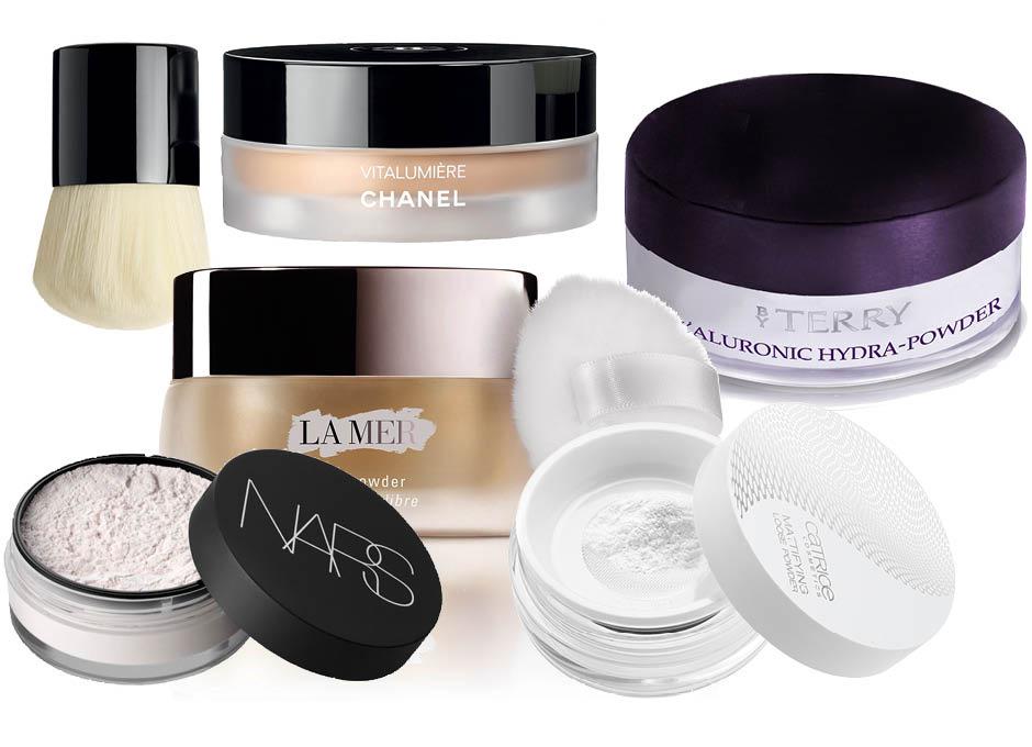 1. Chanel Vitalumiere; 2. Hyaluronic Hydra Powder By Terry; 3. Catrice Mattifying Loose Powder; 4. La Mer Skincolor de la Mer; 5. NARS Light Reflecting Loose Setting