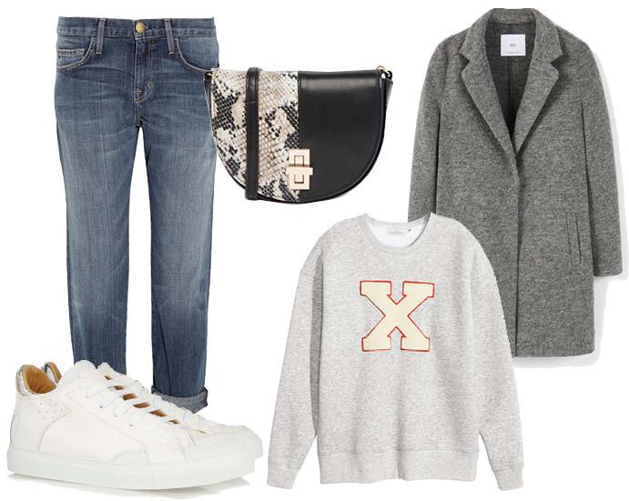 Выбор ELLE : пальто Mango, джинсы Current/Elliott, свитшот H&M, кеды MM6 Maison Margiela